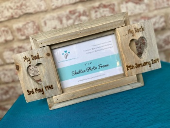Design Your Own - Personalised Driftwood Heart Shutter Photo Frame