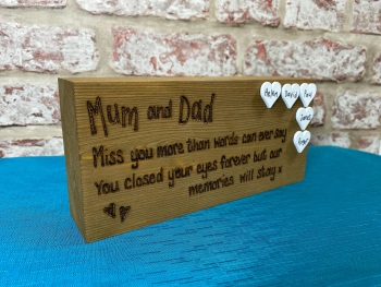 Memorial - Mom/Dad - Personalised Chunky Freestanding Block