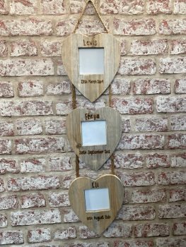 Design Your Own - Personalised Driftwood Triple Heart Photo Frame