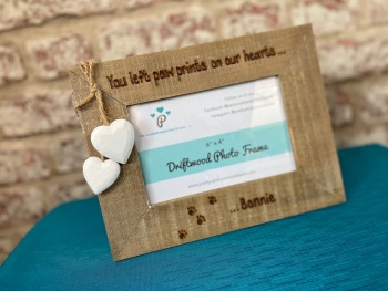 You Left Paw Prints On Our Hearts | In Memory | Dog, Cat - Personalised Driftwood Photo Frame
