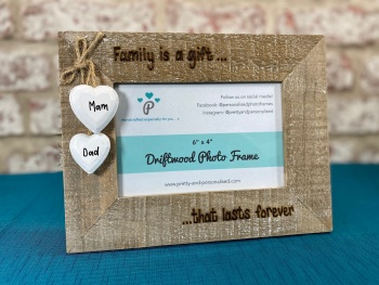 Family Is A Gift... That Lasts Forever  - Personalised Driftwood Photo Frame