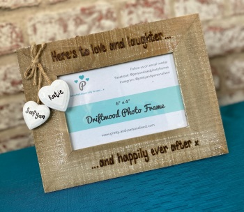 Here's To Love And Laughter And Happily Ever After - Personalised Driftwood Photo Frame