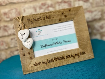 My Heart Is Full, When My Best Friend Is By My Side - Personalised Driftwood Photo Frame