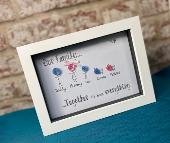 Family, Where Life Begins And Love Never Ends - Button Head Personalised Box Frame