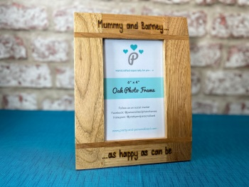 Daddy / Mummy And Me, As Happy As Can Be - Personalised Solid Oak Wood Photo Frame