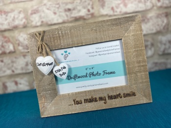 You Make My Heart Smile - Personalised Driftwood Photo Frame