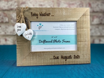 Baby Scan Due Date - Personalised Driftwood Photo Frame