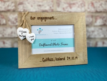 Engagement Memory  | Names / Date & Place | Personalised Driftwood Photo Frame 6x4""