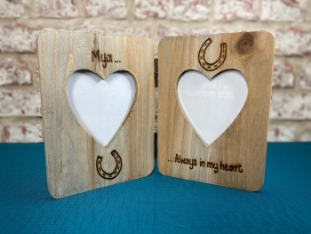 Horse Memorial / Always In My Heart - Personalised Double Driftwood Photo Frame