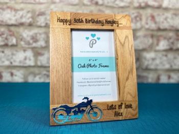 Motorbike - Dad / Grandad / Uncle / Son - Personalised Solid Oak Wood Photo Frame