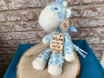 "Design Your Own - Large 13"" Blue Giraffe Plushie With Engraved Tag"