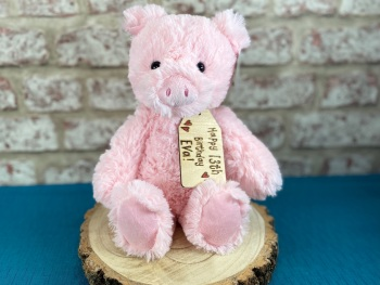 "Happy Birthday - 12"" Pig Plush With Engraved Tag"