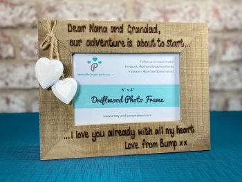 Dear Nanna And Grandad -  Baby Scan/New Baby - Personalised Driftwood Photo Frame