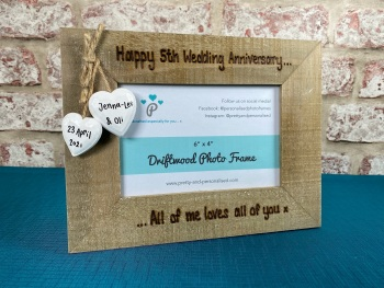 5th Wedding Anniversary | Personalised Driftwood Photo Frame