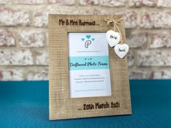 Mr & Mrs | Newly Married  - Personalised Driftwood Photo Frame