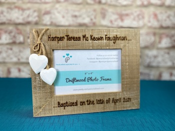 Christening / Baptism - Personalised Driftwood Photo Frame