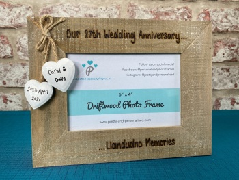 Our Wedding Anniversary | Personalised Driftwood Photo Frame