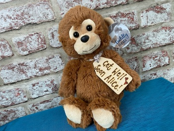 "Get Well Soon  - 12"" Monkey Plush With Engraved Tag"