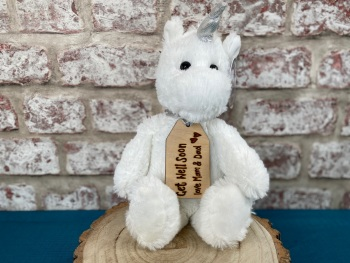 "Get Well Soon - 12"" Unicorn Plush With Engraved Tag"