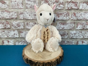 "Get Well Soon - 12"" Llama Plush With Engraved Tag"