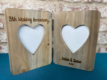 5th Wedding Anniversary Gift - Personalised Driftwood Double Heart Photo Frame