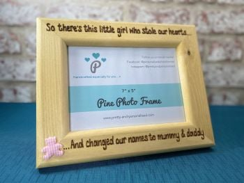 Changed Names to Mummy and Daddy - Personalised Solid Wood Photo Frame