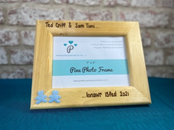 New Baby Twins Triplets - Personalised Solid Wood Photo Frame