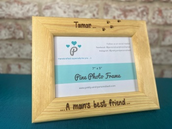 Man's Best Friend Dog / Cat - Personalised Solid Wood Photo Frame