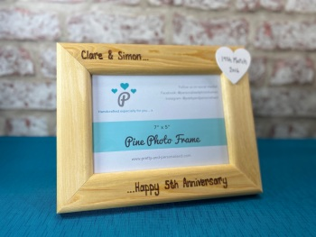 5th Wedding Anniversary - Personalised Pine Wood Photo Frame