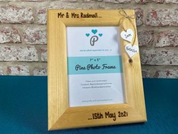 Mr & Mrs Wedding - Personalised Pine Wood Photo Frame