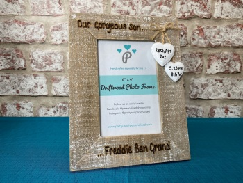 Our Gorgeous Son / Daughter / Name... - Personalised Driftwood Photo Frame