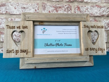 Those We Love Don't Go Away - Personalised Driftwood Heart Shutter Photo Frame