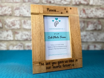 The Love You Gave Us Lives In Our Hearts Forever - Dog, Cat, Horse - Personalised Solid Oak Wood Photo Frame