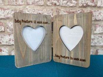 Baby Scan / 1st 2nd Sonogram / Twins - Personalised Double Driftwood Photo Frame