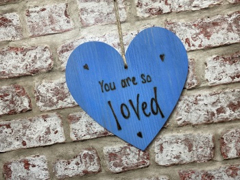 You Are So Loved - Personalised Blue Chunky Wooden Hanging Heart