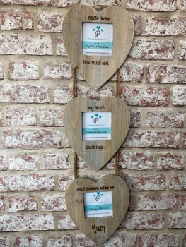 I Never Knew How Much Love... New Mum Gift - Personalised Driftwood Triple Heart Photo Frame