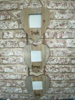 Daddy, Mummy, Baby - Family Frame - Personalised Driftwood Triple Heart Photo Frame