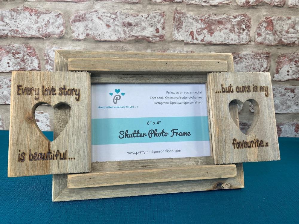 Love Story - Personalised Driftwood Heart Shutter Photo Frame