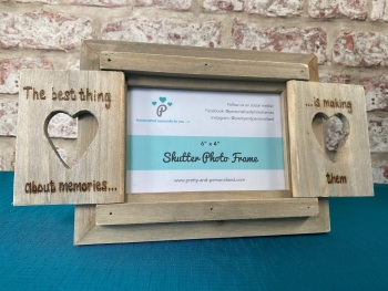 The Best Thing About Memories, Is Making Them - Personalised Driftwood Heart Shutter Photo Frame