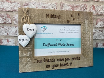 True Friends Leave Paw Prints On Your Heart | In Memory | Dog, Cat - Personalised Driftwood Photo Frame