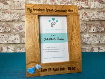 My Precious Grandson/Granddaughter, Date and Weight - Personalised Solid Oak Wood Photo Frame