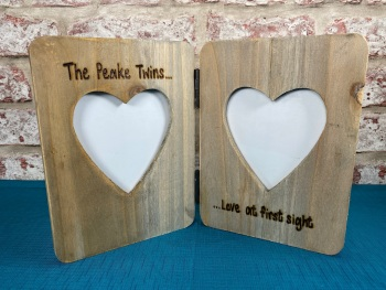 Love At First Sight | Baby Scan / 1st 2nd Sonogram  - Personalised Double Driftwood Photo Frame