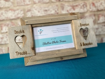 Brother Sister  - Personalised Driftwood Heart Shutter Photo Frame