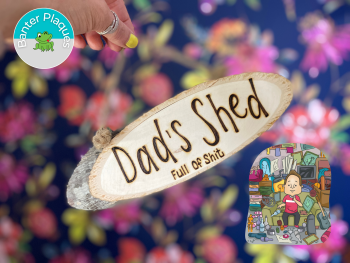 Dad's Shed   Banter Personalised Wooden Plaque