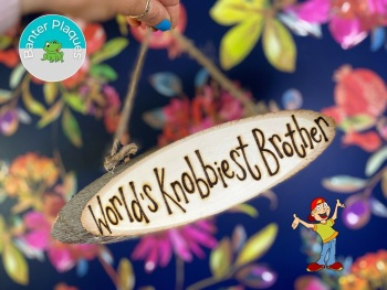World's Knobbiest Brother   Banter Personalised Wooden Plaque