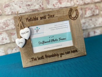 'Horse Name & Rider' -  The Best Friendship You Can Have - Personalised Driftwood Photo Frame