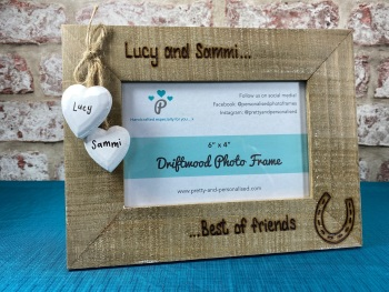 Horse | Best Of Friends - Personalised Driftwood Photo Frame