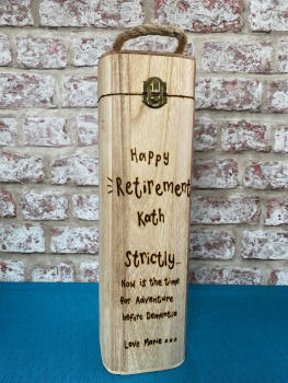 Retirement/Work Colleague Gift  - Personalised Wooden Wine Box Holder