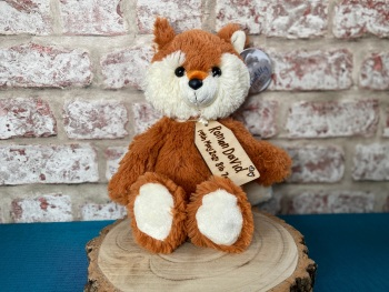 """New Baby Personalised Gift, Baby Name / Weight / Date  - 12"""" Fox Plush With Engraved Tag"""