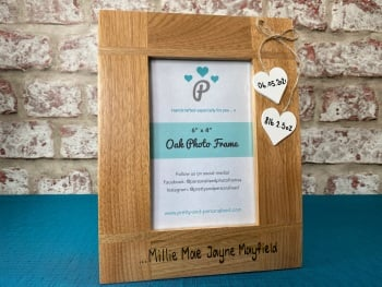 New Baby /  Weight  / Date /  Name - Personalised Solid Oak Wood Photo Frame